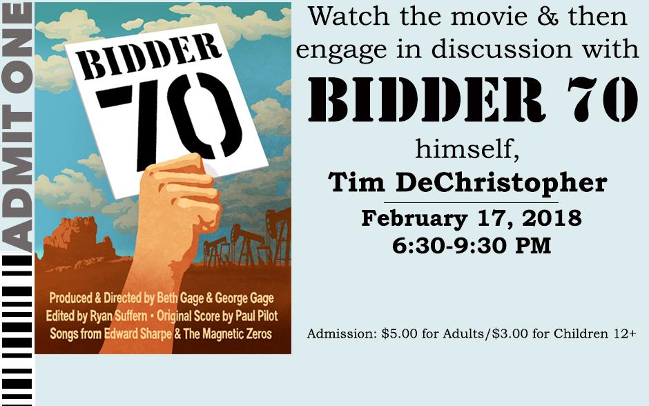 tim dechristopher bidder 70 Tim dechristopher talks about his upcoming trial with filmmaker jon  handed bidder paddle number 70, dechristopher began bidding as.