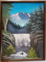 PAINTING OF WATERFALL AND MOUNTAIN
